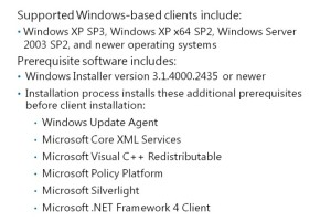 Device Requirements to Support the Windows-Based Configuration Manager Client Agent